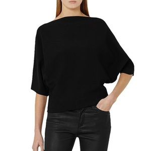 Reiss Olympia Black Knitted Bat Wing Blouse